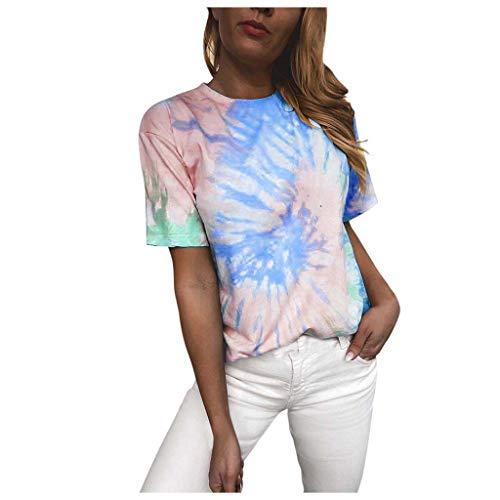 Lazzboy Store Damen Tie Dye Kurzarm Beiläufige Loose Fit T-Shirt Tops Bluse Frauen Voller Farben Drucken Rundhals Top Tie-dye(Blau,3XL)