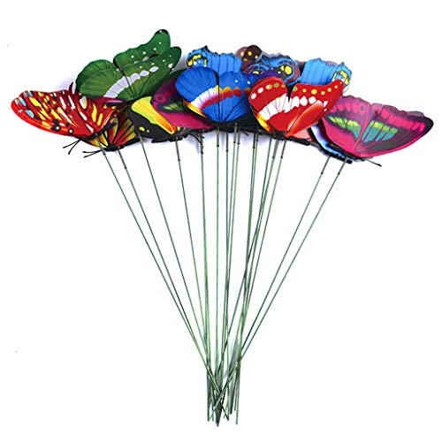 AYDQC SDHUA 36 Pcs/bunch Butterflies Garden Decoration Outdoor Yard Planter Colorful Whimsical Butterfly Stakes Flower Pots Jardineria Decor