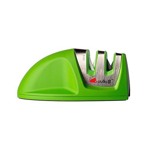 Uulki Messerschleifer klein manuell - Maus Messerschärfer mit Gummibeschichtung und rutschfeste Gummibasis (Grün)