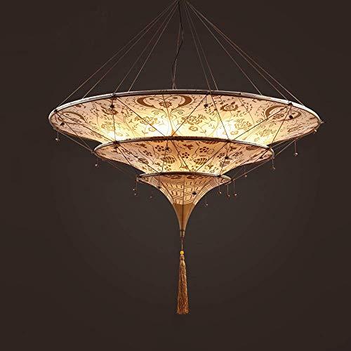 Araña de tela hecha a mano de estilo del sudeste asiático, iluminación de la sala de estar del hotel Iluminación interior del restaurante de estilo del sudeste asiático Lámpara de decoración de escal
