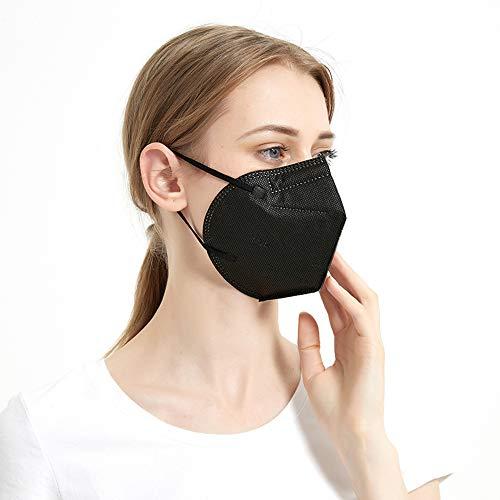 iCOOLIO ffp2 Maske ce Zertifiziert, Masken mundschutz, Mund und nasenschutz, schutzmasken, Gesichtsmaske, atemschutzmaske 10 Stück schwarz