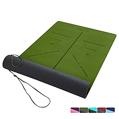 ZERONIC TPE Eco Friendly Non Slip Yoga Mat for Yoga, Pilates & Floor Exercises with Carrying Rope(72'' x 24'' x 1/4''Thick)-Green&Grey