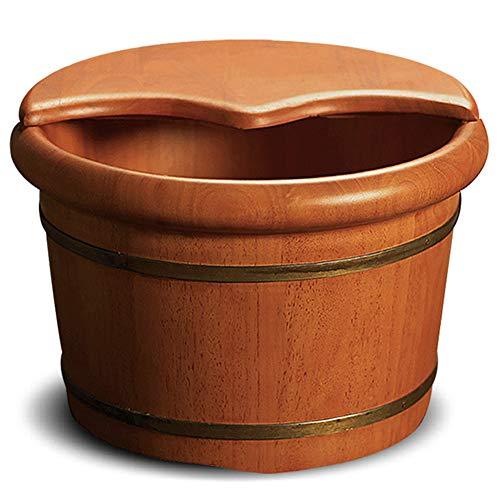 Preisvergleich Produktbild CANDYANA Runde hölzerne Fassschüssel mit Deckel rundet verdicktes Haushaltsfußbad-Fass ab, Color1, 42x26cm