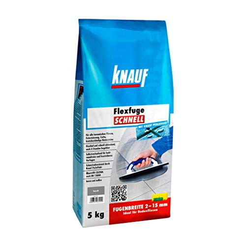Knauf Flexfuge SCHNELL, schnellhärtender Fugen-Mörtel für alle Boden-Fliesen – flexibler Fliesen-Zement mit Extra-Haftformel, schmutzabweisende Flex-Fuge, Basalt, 5-kg