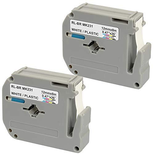 2 x Compatible MK231 Black on White Label Tapes - Cassetta nastro per scrittura - (12mm x 8m) for Brother P-Touch TZ Label Printers