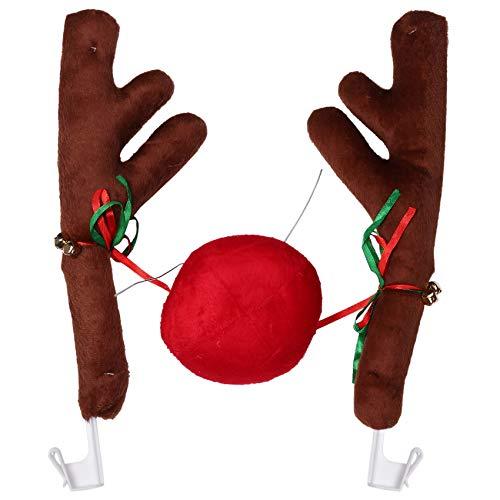 GGBEST Car Reindeer Antlers & Nose - Window Roof-Top & Grille Rudolph Reindeer Jingle Bell Christmas Costume Auto Accessories