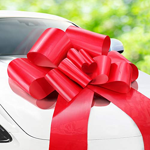 Zoe Deco Big Car Bow (Red, 30 inch, 1 Pack), Gift Bows, Giant Bow for Car, Birthday Bow, Huge Car Bow, Car Bows, Big Red Bow, Bows for Gifts, Christmas Bows for Cars, Big Gift Bow, Party Bow