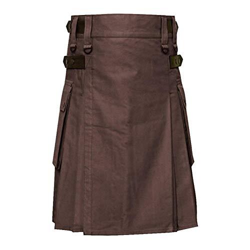 Hermosa Kilt Falda Escocesa Nuevos Hombres Cintura Ajustable Falda Informal Pantalón Sólido Plaid Punk Hip-Avant Garde H