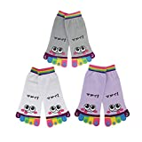 Bonamart 1 Paar Zehensocken Damen Lustige Bunte Socken, Baumwolle Zehen Zehensocken Toe Socks Frauen, M, 3 Paare 29468