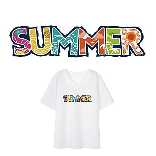 BLOUR Parches de Verano para Camiseta Ropa de niña Etiqueta de Transferencia de Calor DIY Parche de fácil Uso Planchado Lavable Apliques Dropshipping Personalizado