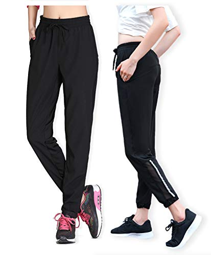Woman Girl Loose Yoga Pants Running Pants(Has Plus Size) Refer Size in Picture 2 Left Black
