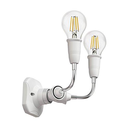 ledscom.de Lampada da Parete Elektra, angolare, con Braccio Flessibile a Due luci, incl. E27 LED Lampadina Bianca 400lm