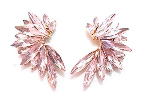 Pendientes Cristales Colores Mujer Pendientes Fiesta Boda Medio Aro, Chapado Oro Rosa Claro