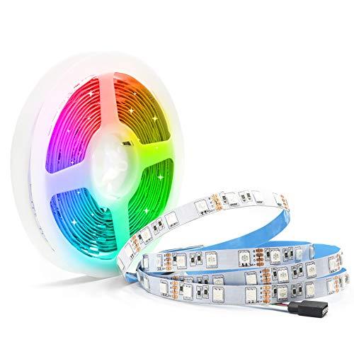 Arote Tiras de Luces LED RGB 12V 5M 60led/M 300 Leds SMD5050 RGB Tira de luz IP20 No Impermeable Barra de luz Sin alimentación ni controlador
