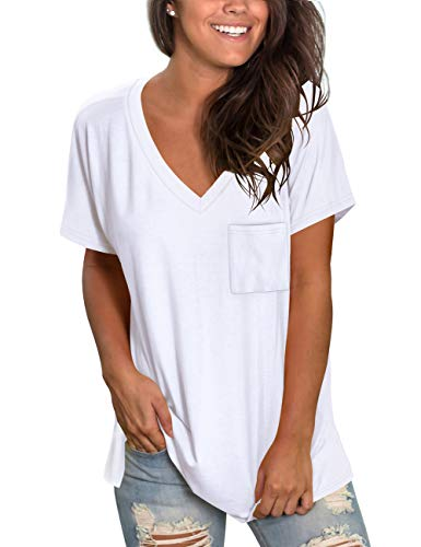 NSQTBA Women's White V Neck T Shirts Short Sleeve Pocket Tshirt Lightweight Soft Tees S