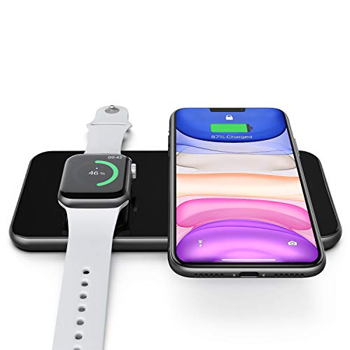 Hinyx Cargador Inalámbrico 2 en 1,Qi Cargador Inalámbrico Rápido,para iWatch 5/4/3,Airpods 2/Pro,iPhone SE2/11/XR/XS Max/XS/X/8P, Samsung Galaxy S20/Note 10,Todos los Dispositivos habilitados para Qi