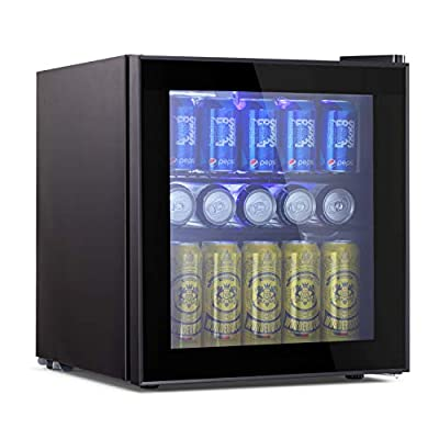 Beverage Refrigerator and Cooler - 1.6 Cu. Ft. Drink Fridge with Glass Door for Soda, Beer or Wine - Small Beverage Center with 1 Removable Shelves for Office/Man Cave/Basements/Home Bar