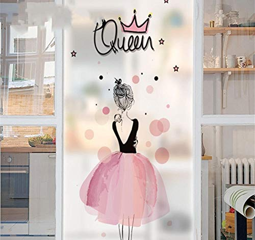 YUNZHIFU waterdichte raamfolie roze schattige vrouw thuis mat ondoorzichtig schurende statische privacy balkon bad sticker glassticker 60x90cm