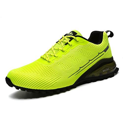 Dannto Sportschuhe Herren Laufschuhe Turnschuhe Straßenlaufschuhe Atmungsaktiv Gym Sneakers(Grün,41)