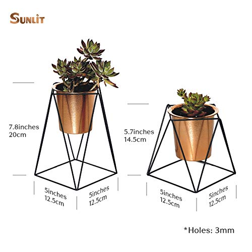 Sunlit Set of 2 Geometric Mini Iron Tabletop Plant Stands with Golden Bronze Plastic Pots Dia 3.8 inch for Succulent Cactus,Modern Decorative 2 Tiered Black Metal Planter Holder,for Desktop and Garden