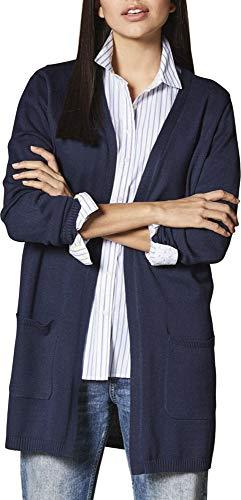 Esmara® Damen Feinstrick-Cardigan Longstrickjacke mit offenem V-Ausschnitt (Navy, Gr. M 40/42)