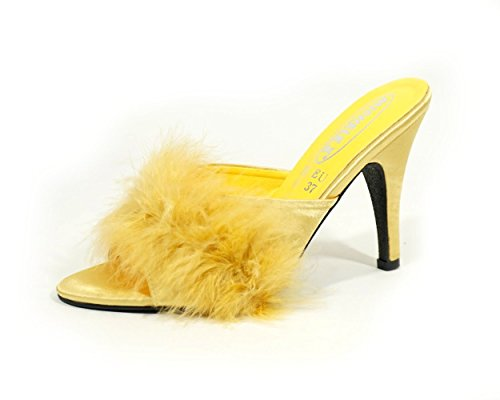 MicheleX 801 – Gold 11,4 cm High Heel Satin Fluffy Maribou Pantoffeln (UK): 37, 38, 39, 41, Gold - gold - Größe: 37 EU