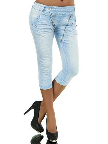 Damen 3/4 Capri Jeans Hose Shorts Damenjeans Hüftjeans Caprijeans Boyfriend N123, Größen:40 (L), Farben:Hellblau
