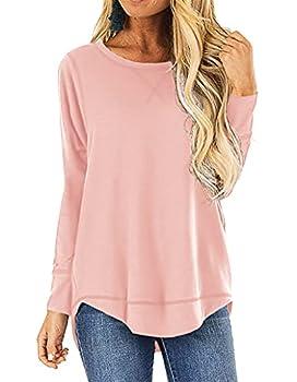 HIYIYEZI Women s Casual Long Sleeve Round Neck Loose Tunic T Shirt Blouse Tops  X-Large,Light Pink