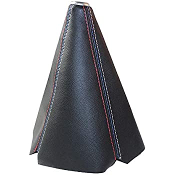red Universal Auto Manual Gear Shift Knob Boot Dust Cover,Made Of Black Pu Leather With Red Seams And Blue Seams