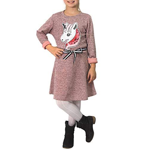 Candygirls P168 - Vestido Infantil con Lentejuelas, diseño de Unicornio, Color Plateado Rosa. 134 cm