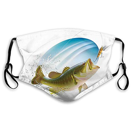 Comfortable Windproof mask,Fishing, Largemouth Sea Bass Catching a Bite in Water Spray Motion Splashing Wild Fish Theme Image,Green Blue,Printed Facial decorations for adult Size:M