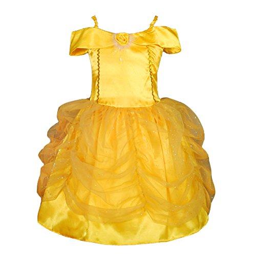 Lito Angels Mädchen Prinzessin Belle Kleid Kostüm Weihnachten Halloween Party Verkleidung Karneval Cosplay Kinder 6-8 Jahre Gold