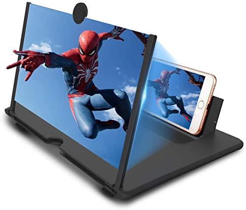 Lente d ingrandimento dello schermo del telefono cellulare, lente ottica, amplificatore portatile 3D ad alta definizione, adatto per guardare video su tutti gli smartphone (14 pollici nero)