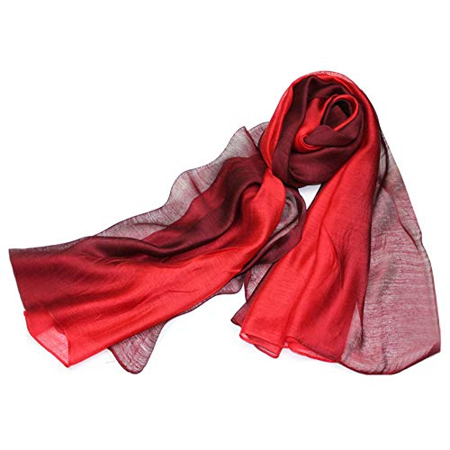 SNUG STAR Cotton Silk Scarf Elegant Soft Wraps Color Shade Scarves for Women (Red)