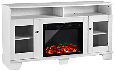 Cambridge CAM6022-1WHTLED Savona 59 In. Electric Fireplace in White with Entertainment Stand and Multi-Color LED Flame Display