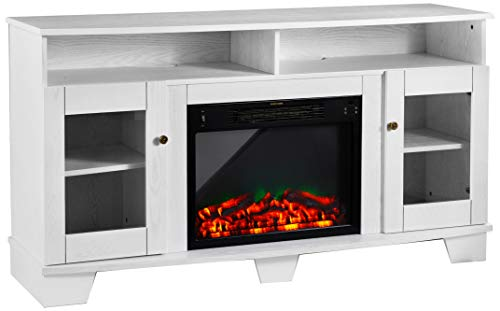 Cambridge CAM6022-1WHTLED Savona 59 In. Electric Fireplace in White with Entertainment Stand and Multi-Color ...