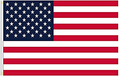 American US Flag 3x5 ft Premium Polyester, Vivid Color, Duty Durable, Double Sewn Stripes, UV Fade Protected, Brass Grommets Great for Outdoor and Indoor USA Flag (Polyester)