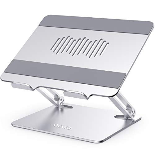 AWAVO Laptop Stand, Ergonomic Aluminum Computer Stand for Desk, Adjustable Laptop Riser with Heat-Vent, Multi-Angle Lapdesks Compatible with MacBook Air/Pro, Dell, HP, Lenovo, More 10-15.6' Laptops