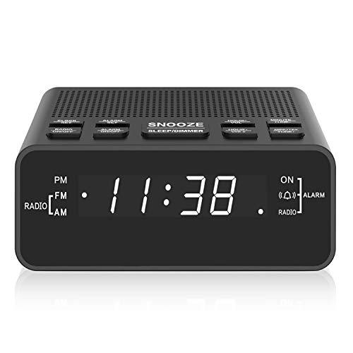 Reloj despertador, radio despertador digital AM FM con pantalla LED, temporizador de sueño, atenuador, repetición, batería de respaldo para dormitorios, mesita de noche, escritorio, estante