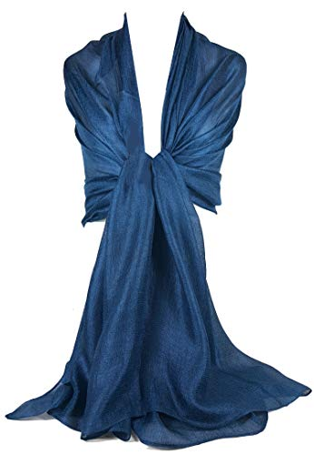GFM Silky evening Scarf Shawl Wrap for Wedding Bridesmaids - Navy Blue - (SLK2-104-GHNL)