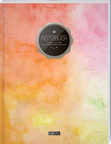 """TULPE Bullet Journal A4 """"C072 Bunte Wände"""" (140+ Seiten, Vintage Softcover, Punktkariertes Papier – Punktraster Notizbuch, Handlettering, Skizzenbuch, Zeichenbuch)"""