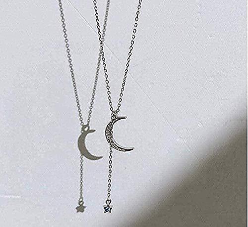 huangshuhua Collar Mujer Collar Luna Estrella Collar Micro- Set Collar Lindo Simple Personalidad Simple pequeño Regalo Fresco