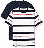 Amazon Essentials Men's 2-Pack Loose-Fit Short-Sleeve Crewneck T-Shirt, Red, White, and Navy Verrogated Stripe/Navy, X-Large