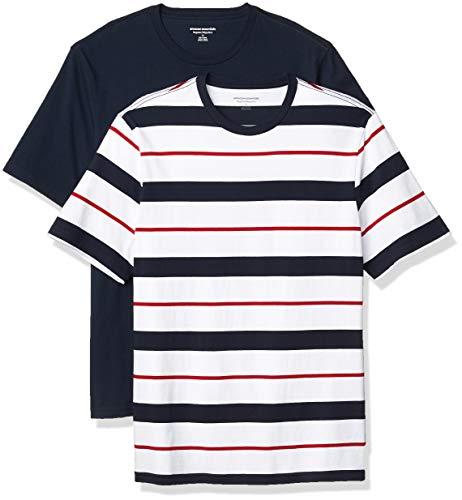 Amazon Essentials 2-Pack Regular-Fit Short-Sleeve Crewneck T-Shirt, Rot, Weiß und Marineblau gestreift, XXL