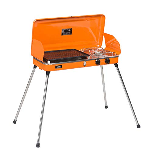 DOIT Outdoor Portable Gas Grill with Stand for BBQ & Camping,2 Burner,Grill with Hose and Adapter (Orange) Grills Propane