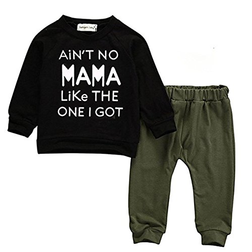 Baby Kids Toddler Boy Printed Tops Pants Leggings Outfits Clothes Set 0-3 Y (0-6 Months, Long Sleeve)