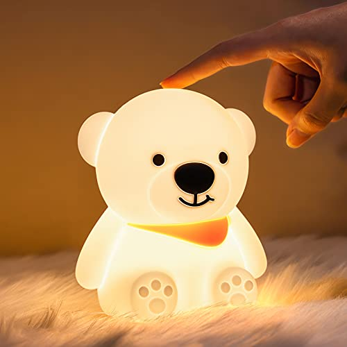 Cute Bear Night Light for Kids Room,Baby Night Light Silicone Night Lamp Color Changing Rechargeable...