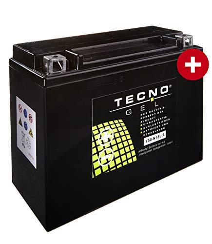 TECNO-GEL Motorrad-Batterie Y50-N18L-A, 12V Gel-Batterie 20Ah (DIN 52016), 205x90x160 mm inkl. Pfand