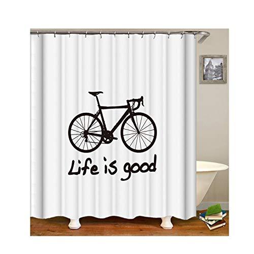 Gnzoe Polyester Bad Vorhang Fahrrad Muster Design Badewanne Vorhang Mehrfarbig für Badezimmer/Badewanne 120x180CM