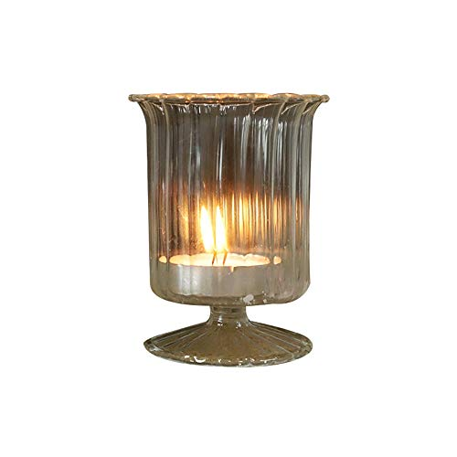 LRHD Glass Candle Holder, Elegant Candle Holder for Pillar Floating Candles, Clear Glass Candleholder for Wedding Centerpiece Decorations, Candlestick for Dining Table(Transparent)